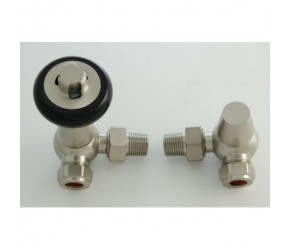 Faringdon Satin Nickel Corner Thermostatic Radiator Valve with Lockshield