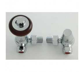 Faringdon Traditional Chrome Corner Thermostatic Radiator Valve with Lockshield