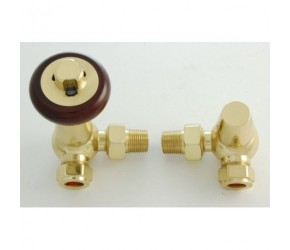 Faringdon Traditional Brass Corner Thermostatic Radiator Valve with Lockshield