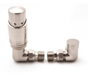 Reina Modal Corner Brushed TRV Radiator Valves Inc Lockshield