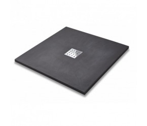 Kartell 900mm x 900mm Square Slate Effect Shower Tray - Graphite