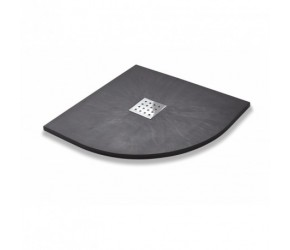 Kartell 800mm x 800mm Quadrant Slate Effect Shower Tray - Graphite