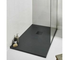 Kartell 1400mm x 800mm Rectangle Slate Effect Shower Tray - Graphite