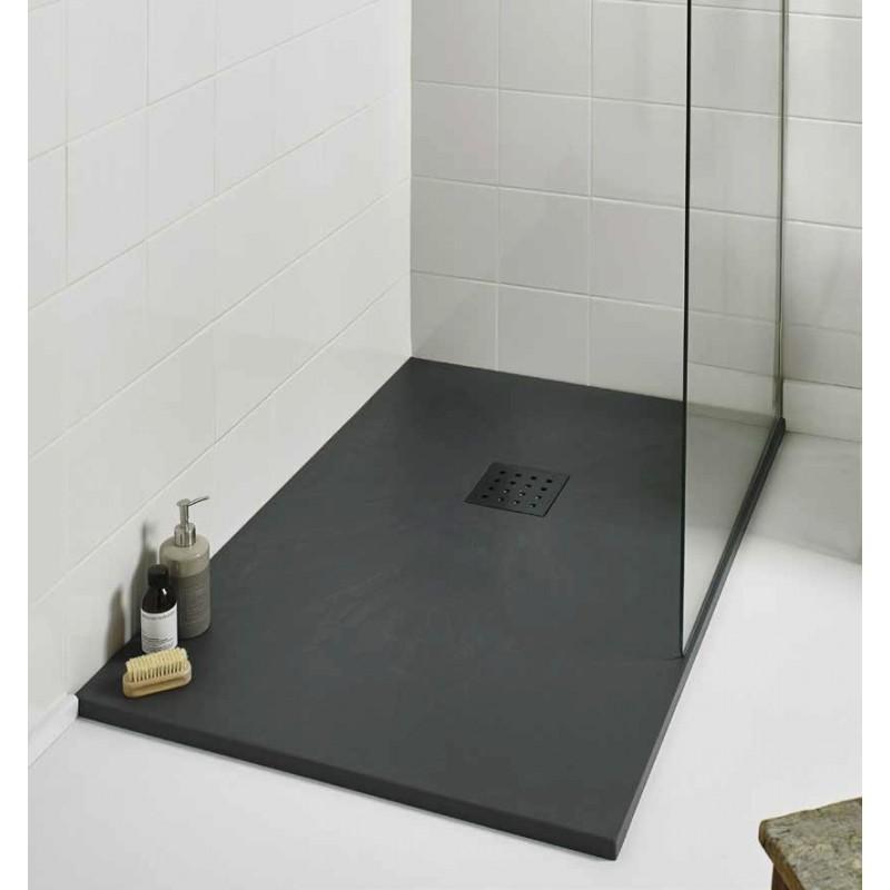 Kartell 1600mm X 800mm Rectangle Slate Effect Shower Tray Graphite