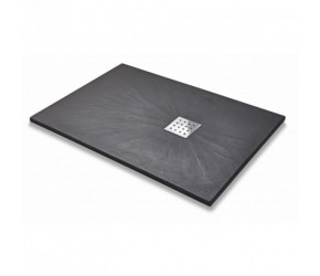Kartell 1700mm x 900mm Rectangle Slate Effect Shower Tray - Graphite