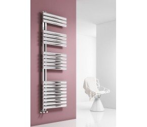 Reina Scalo Brushed Stainless Steel Towel Rail 826mm High x 500mm Wide