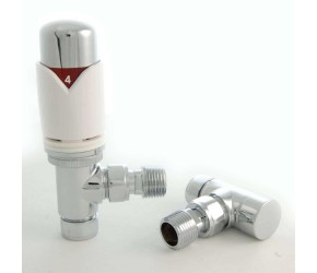 Eastgate Realm White Angled Thermostatic Radiator Valves