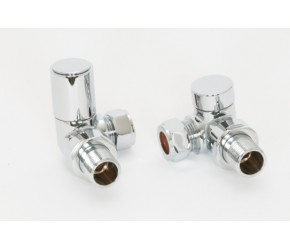 Chrome Roundhead Corner Towel Rail Valves