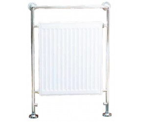 Eastbrook Twyver Traditional Chrome and White Towel Rail 952mm High x 685mm Wide