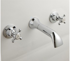 BC Designs Victrion Crosshead 3 Hole Wall Mounted Bath Filler