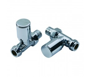 Eastgate Straight Roundhead Chrome Modern Radiator Valves (pair)