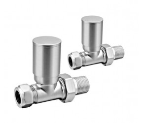 Eastgate Brushed Straight Roundhead Radiator Valves (pair)