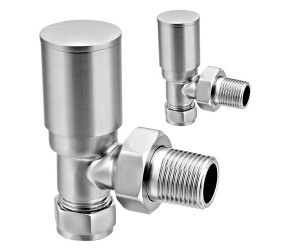 Eastgate Brushed Angled Roundhead Radiator Valves (pair)