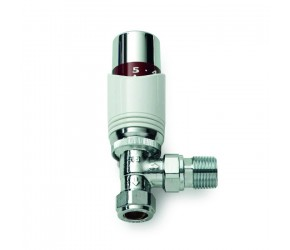 White Angled Thermostatic Radiator Valve (lockshield included)
