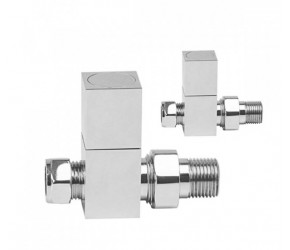 Reina Richmond Square Chrome Straight Radiator Valves (pair)