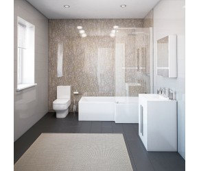 Thorpe Complete Modern White Bathroom Suite with Right Hand L-Shaped Bath