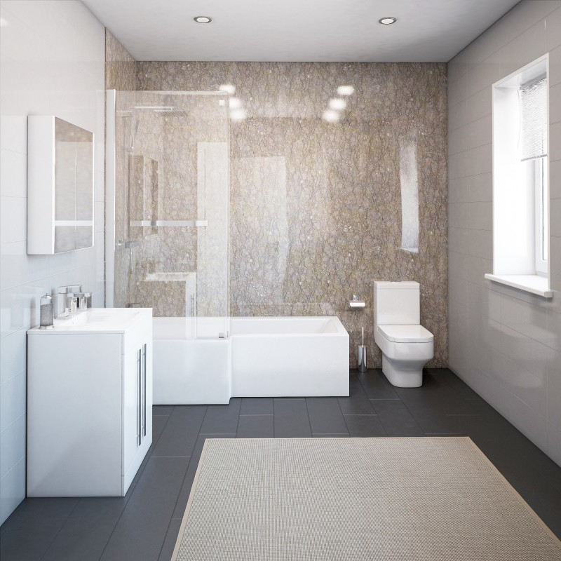 Thorpe Complete Modern White Bathroom Suite With Left Hand