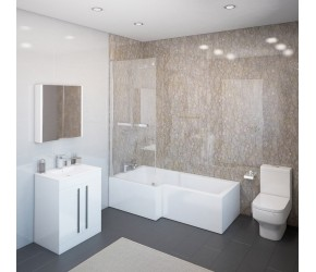 DBS Select Thorpe Complete Modern White Bathroom Suite with Left Hand L-Shaped Bath