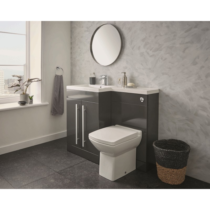 Kartell Matrix Gloss Grey 2 Door L Shaped Left Hand Bathroom Furniture Pack 1100mm Designer