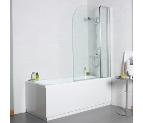 Kartell Koncept 6mm Curved Bath Screen with Extension Panel 1000mm Wide x 1400mm High