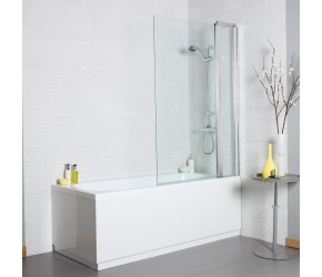 Kartell Koncept 6mm Square Bath Screen with Extension Panel 1000mm Wide x 1400mm High
