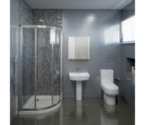 Hapton Complete Modern White Bathroom Suite with Quadrant Shower Enclosure