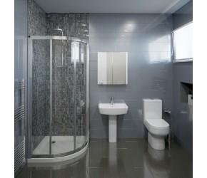 Hapton Complete Modern White Bathroom Suite with Quadrant Shower Enclosure