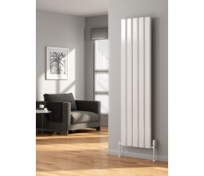 Reina Vicari White Aluminium Double Panel Vertical Radiator 1800mm x 300mm