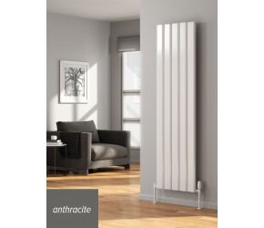 Reina Vicari Anthracite Aluminium Single Panel Vertical Radiator 1800mm x 400mm
