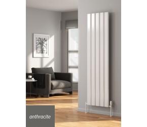 Reina Vicari Anthracite Aluminium Double Panel Vertical Radiator 1800mm x 300mm
