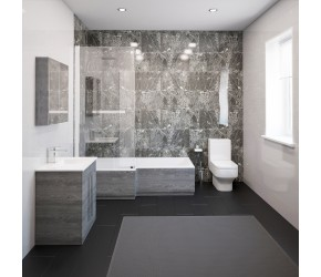 Thorpe Complete Modern Grey Ash Bathroom Suite with Left Hand L-Shaped Bath