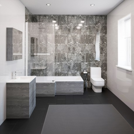 thorpe complete modern grey ash bathroom suite with left