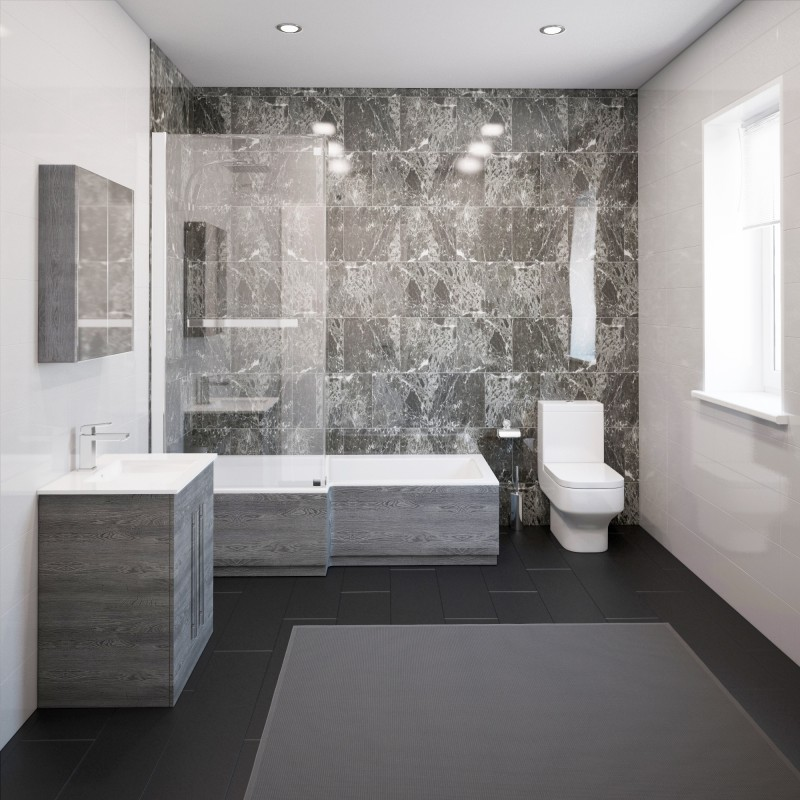 Thorpe Complete Modern Grey Ash Bathroom Suite with Left ...