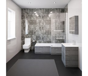 Thorpe Complete Modern Grey Ash Bathroom Suite with Right Hand L-Shaped Bath