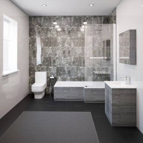 Thorpe Complete Modern Grey Ash Bathroom Suite With Right Hand L Shaped Bath Designer Bathroom Store