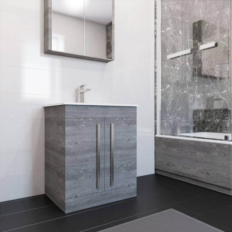 Thorpe Complete Modern Grey Ash Bathroom Suite With Right