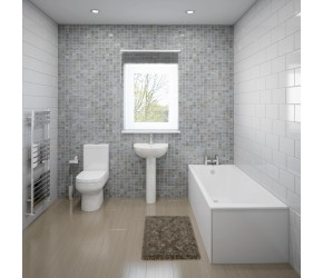Lingwood Complete Modern White Bathroom Suite with Straight Bath