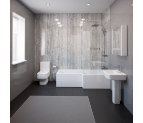 Dunham Complete Modern White Bathroom Suite with Right Hand L-Shaped Bath