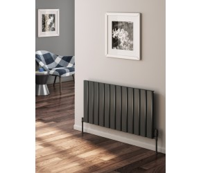 Reina Vicari Anthracite Aluminium Single Panel Horizontal Radiator 600mm x 400mm