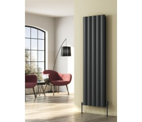 Reina Belva Anthracite Aluminium Single Panel Vertical Radiator 1800mm x 308mm