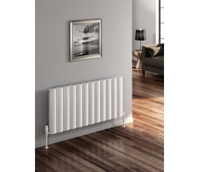 Reina Belva White Aluminium Double Panel Horizontal Radiator 600mm x 620mm