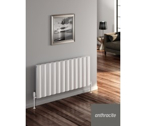 Reina Belva Anthracite Aluminium Single Panel Horizontal Radiator 600mm x 412mm