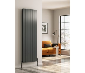 Reina Casina Anthracite Aluminium Single Panel Vertical Radiator 1800mm x 470mm