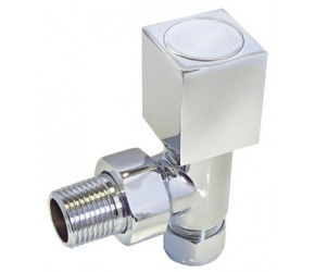Eastgate Square Head Round Body Angled Chrome Radiator Valves (pair)