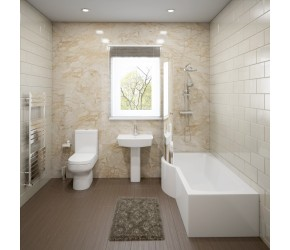 Hemsby Complete Modern White Bathroom Suite with Left Hand P-Shaped Bath