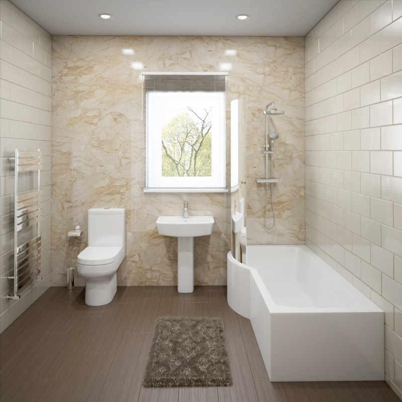 modern white bathroom hemsby complete modern white bathroom suite with left p shaped bath designer bathroom store 8705