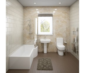Hemsby Complete Modern White Bathroom Suite with Right Hand P-Shaped Bath