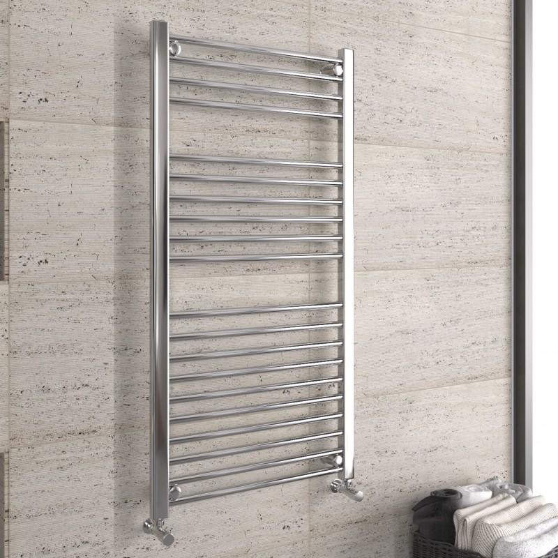 1200mm x 600mm Chrome Straight Heated Ladder Towel Rail