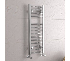 DBS Chrome Curved Heated Towel Rail 800mm x 300mm