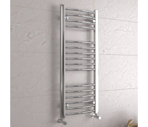DBS Chrome Curved Heated Towel Rail 1000mm x 400mm